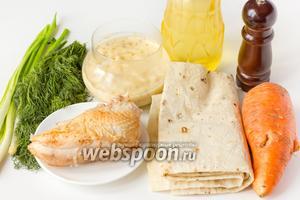Для приготовления салата нам понадобится тонкий армянский лаваш, крупная морковь (или две средних), филе копчёной курицы, зелёный лук и укроп,  домашний майонез с зёрнами горчицы , подсолнечное рафинированное масло, соль и чёрный молотый перец.
