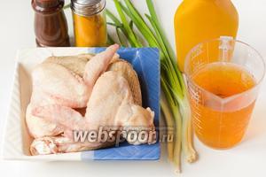 Для приготовления пивных крылышек-гриль нам понадобятся куриные крылья, светлое пиво, зелёный лук, готовая горчица, соль, куркума и чёрный молотый перец.