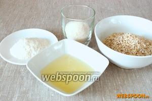 Подготовить овсяные хлопья, белки от 2 яиц, сахар, просеянную муку.