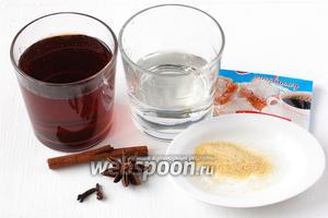 Для приготовления желе из глинтвейна нам понадобится вино красное десертное, вода, желатин, ванильный сахар, корица, гвоздика, звёздочка аниса.