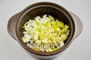 Яблоко и фенхель вымыть, обсушить. Нарезать кубиками и сложить в кастрюлю. Залить 2 л горячей воды и поставить на огонь. Варить 15 минут.
