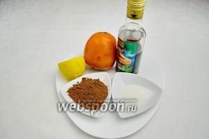 Чтобы приготовить десерт, нужно взять хурму сорта шарон, сахар, сироп кленовый, какао порошок, сок лимонный.