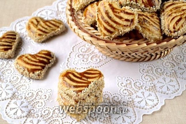 Фото Кунжутное печенье со сгущёнкой