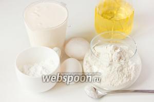 Для приготовления блинов нам понадобится ряженка, пшеничная мука, куриные яйца, сода, сахарная пудра и подсолнечное рафинированное масло.