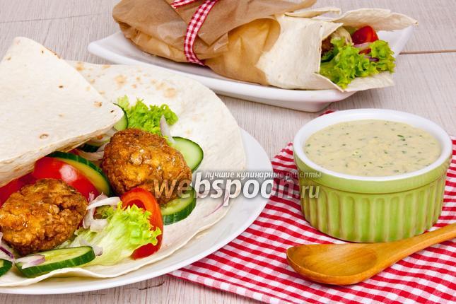 Фото Фалафель в лаваше с овощами и соусом Тахини