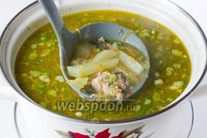 Подаём суп в горячем виде на обед в качестве первого блюда.