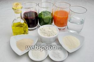 Для выпечки цветного хлеба нам понадобится сок отварной свёклы, свежий сок моркови, пюре отваренного шпината, вода, дрожжи сухие (можно свежие), сахар, соль, мука (кол-во приблизительное), семолина, газированная вода, оливковое (любое растительное) масло, сливочное масло для смазывания формы и готового хлеба.