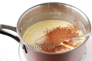 Затем добавить просеянное какао.