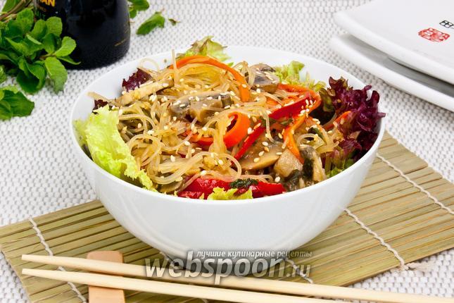 Фото Фунчоза с грибами и овощами