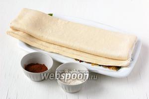 Для приготовления слоёных палочек с корицей нам понадобится слоёное тесто, сахар, корица.
