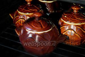 Закрываем горшочки крышками и ставим в чуть разогретую духовку. Увеличиваем температуру до 180 °C и тушим рагу 30-40 минут, ориентируясь на режимы и особенности духовки.