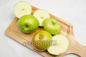 Яблоки вымыть. Просушить. Срезать у яблок «крышечки» на 1/3.