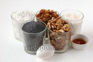 Для приготовления пирога «Мазурка» нам понадобятся яйца, мак, орехи, изюм, сахар, мука, коньяк.