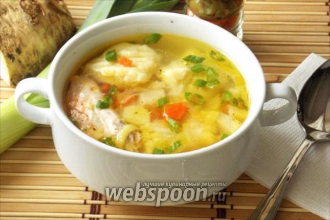 Фото Суп с форелью и картофельными клёцками по итальянски