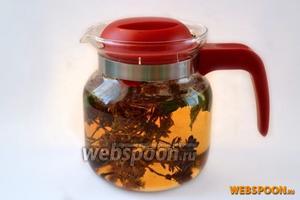 Ополоснём чайник кипятком, поместим в него травки и зальём вскипевшей водой.