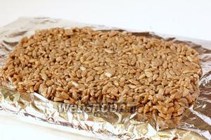 Выложить массу на смазанную подсолнечным маслом фольгу слоем толщиной в 1 см.