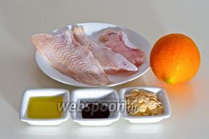 Для приготовления вам нужны филе любой белой рыбы, миндаль, чёрный молотый кофе, апельсин, оливковое масло и соль.
