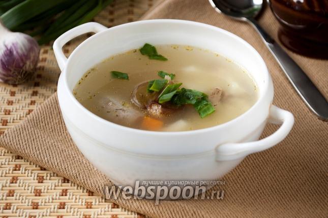 Фото Суп из куриных потрошков с пшеном