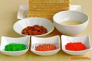 Для приготовления десерта нужно взять сливочные вафли, сгущённое молоко с сахаром, миндаль и разноцветную кокосовую стружку.
