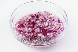 Фиолетовый лук чистим, нарезаем мелкими кубиками и заливаем маринадом, состоящим из горячей кипячёной воды, столового уксуса, сахара и соли. Оставляем лук мариноваться.