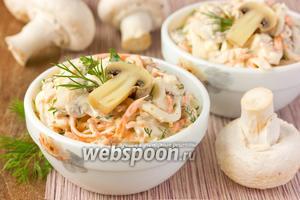 Салат с куриным мясом, корейской морковью и грибами