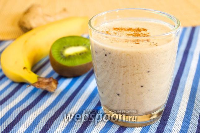 Фото Молочный коктейль с фруктами и имбирём