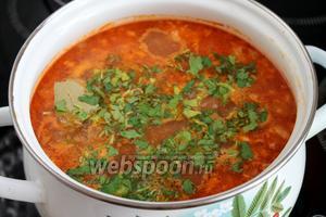 Добавить зелень кинзы и петрушки, дать немного настояться под крышкой. Аромат супа харчо быстро соберёт всех домочадцев за стол! Приятного аппетита!