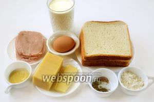 Подготовим необходимые ингредиенты: белый хлеб для сэндвичей, сыр, сливочное масло, ветчину, молоко, специи, муку, оливковое масло, дижонскую горчицу.