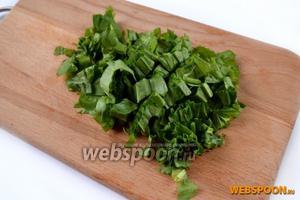 Нарежем вымытые листья шпината и щавеля.