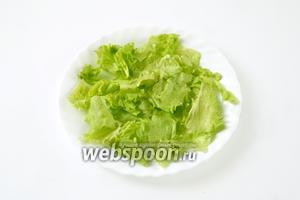 Листья зелёного салата моем, обсушиваем на бумажном полотенце, рвём кусочками на тарелки (ножом салатную зелень не режут, она не терпит соприкосновения с металлом).