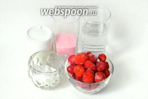 Для приготовления желе берём пакетик любого сухого ягодного желе, 0,5 стакана воды, йогурт или сметану, сахарную пудру (не обязательно), замороженные ягоды.