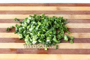 Зелёный лук промываем и нарезаем тонкими кольцами.