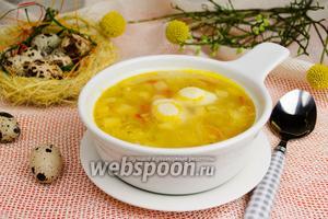 Овощной суп с перепелиными яйцами