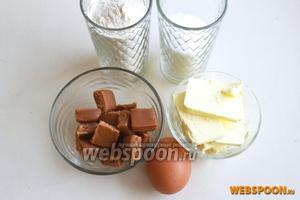 Для печенья нам понадобится: мука, сахар, какао, соль, яйцо, размягчённое сливочное масло, мягкие конфеты ириски и сахарная пудра.