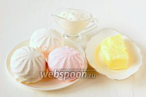 Для приготовления крема из зефира нам понадобится зефир высокого качества, масло сливочное, сметана.