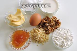 Для приготовления торта возьмём муку, яйцо, сахар, сливки, мёд, сливочное масло и орехи.