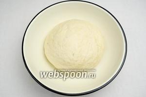 Колобок теста выложить в миску, стенки которой смазать небольшим количеством оливкового масла. Накрыть влажной салфеткой, оставить для подъёма при комнатной температуре.