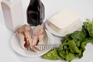 Основные ингредиенты: тунец, сыр Фета, шпинат, оливковое масло и соевый соус.