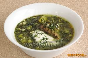 При подаче в тарелку положить 1 ст. л. измельчённых яиц, залить их щами, заправить сметаной и посыпать рубленой зеленью укропа.