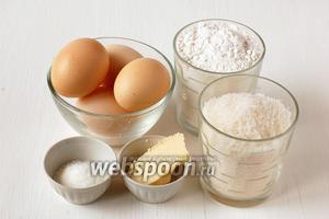 Для приготовления ванильного бисквита нам понадобится сахар, ванильный сахар, сливочное масло, мука, яйца.