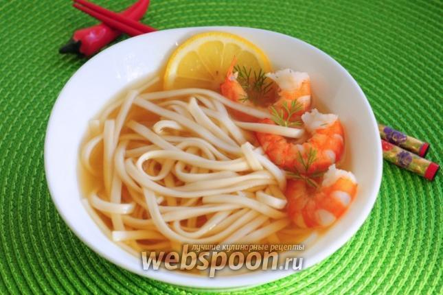Фото Пшеничная лапша с креветками