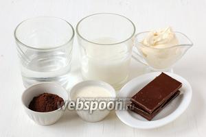 Для приготовления бичерина нам понадобится вода, молоко, кофе свежемолотый, сливки 20%, сливки 40%, чёрный шоколад.
