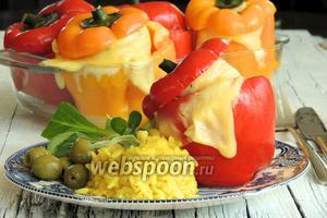 Перец фаршированный пангасиусом в паровом шкафу
