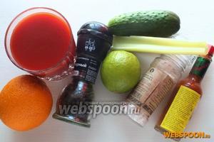 Подготовьте ингредиенты: вымойте овощи и цитрусы, охладите томатный сок, отмерьте соль, перец и табаско. Я использовала табаско «хабанеро», но можно взять любой на ваш вкус.