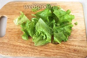 Салатные листья порвать или порезать (лучше керамическим ножом) на 4-6 частей.