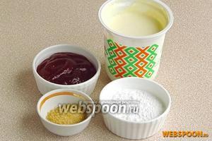 Для приготовления крема нужно взять сливки жирностью 32%, сахарную пудру, малиновый джем и желатин.