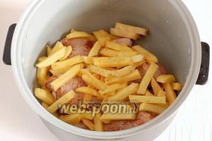 Сверху выложить картофель. Посолить и приправить его сверху. Готовить 50 минут в режиме «Выпечка».