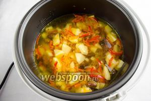 Добавить в чашу мультиварки к овощам 1 л горячего кипятка. Закрыть крышку. Включить режим приготовления «Тушение». Установить время 40 минут. Включить «Старт».