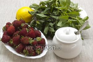 Подготовить ягоды, сахар, лимон, мяту и базилик.