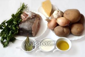 Для приготовления брандады нам нужны следующие ингредиенты: картофель, треска, сливки, оливковое масло, специи, сыр, петрушка.